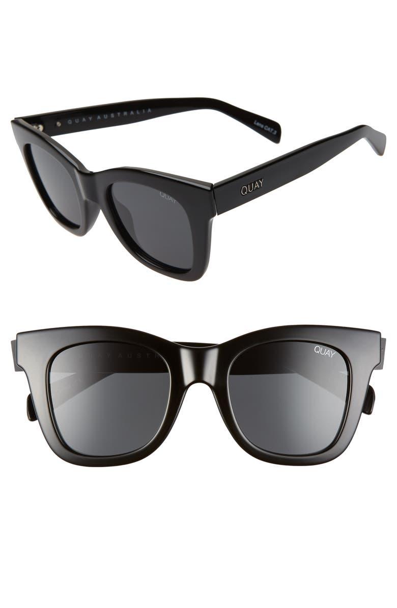 QUAY AUSTRALIA x Chrissy Teigen After Hours 45mm Polarized Square Sunglasses, Main, color, SHINY BLACK/ SMOKE