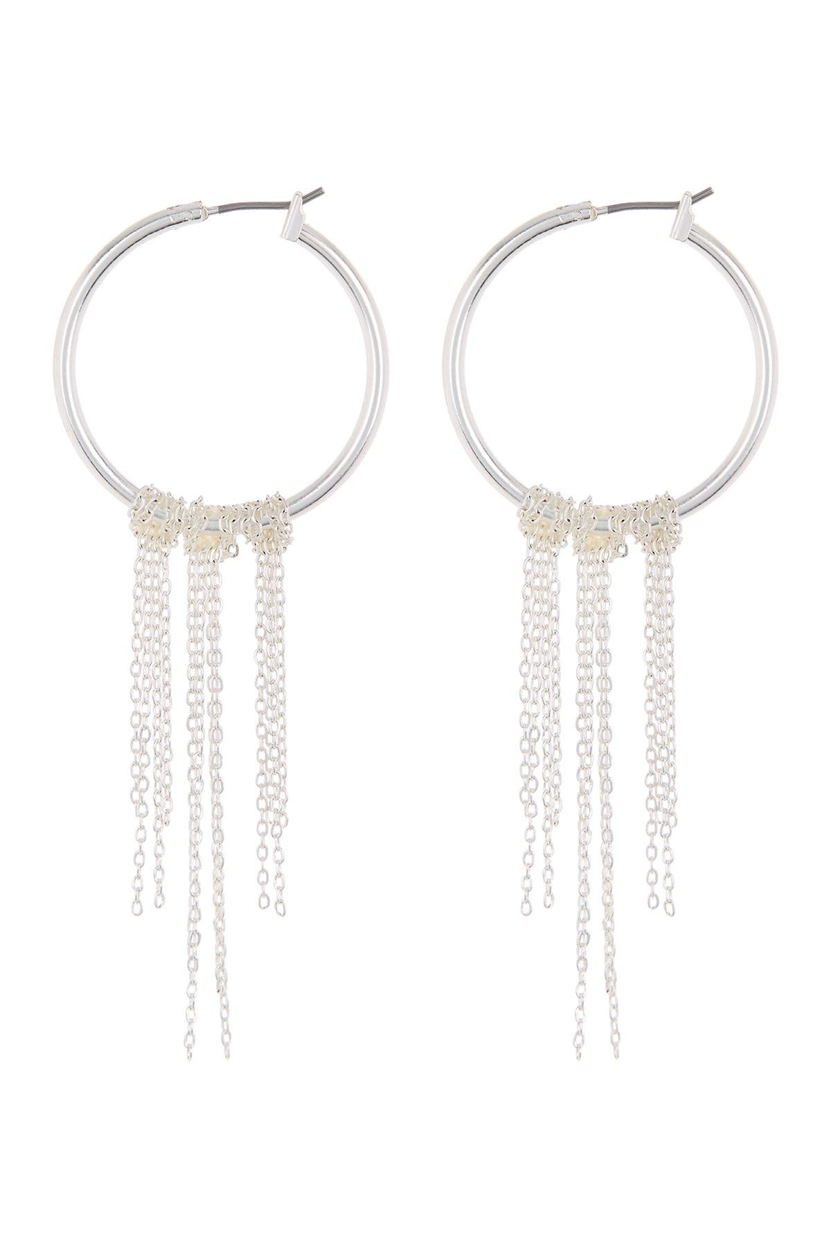 Image of Lucky Brand Silver-Tone Chain Drop Hoop Earrings
