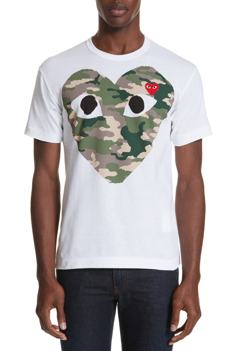 COMME DES GARÇONS PLAY Camo Big Heart T-Shirt, Main, color, WHITE 1