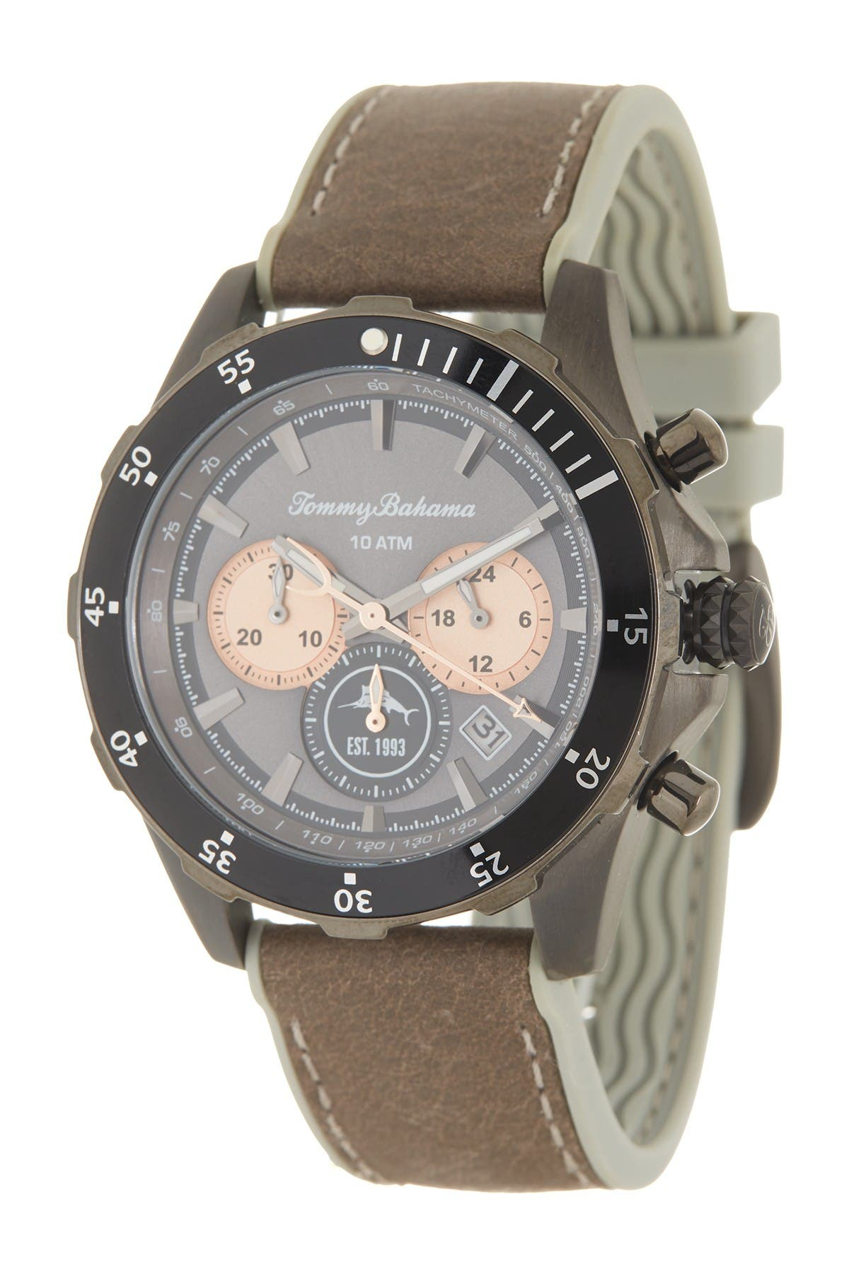 Image of Tommy Bahama Men's Atlantis Diver Chronograph Leather Strap Watch, 44mm