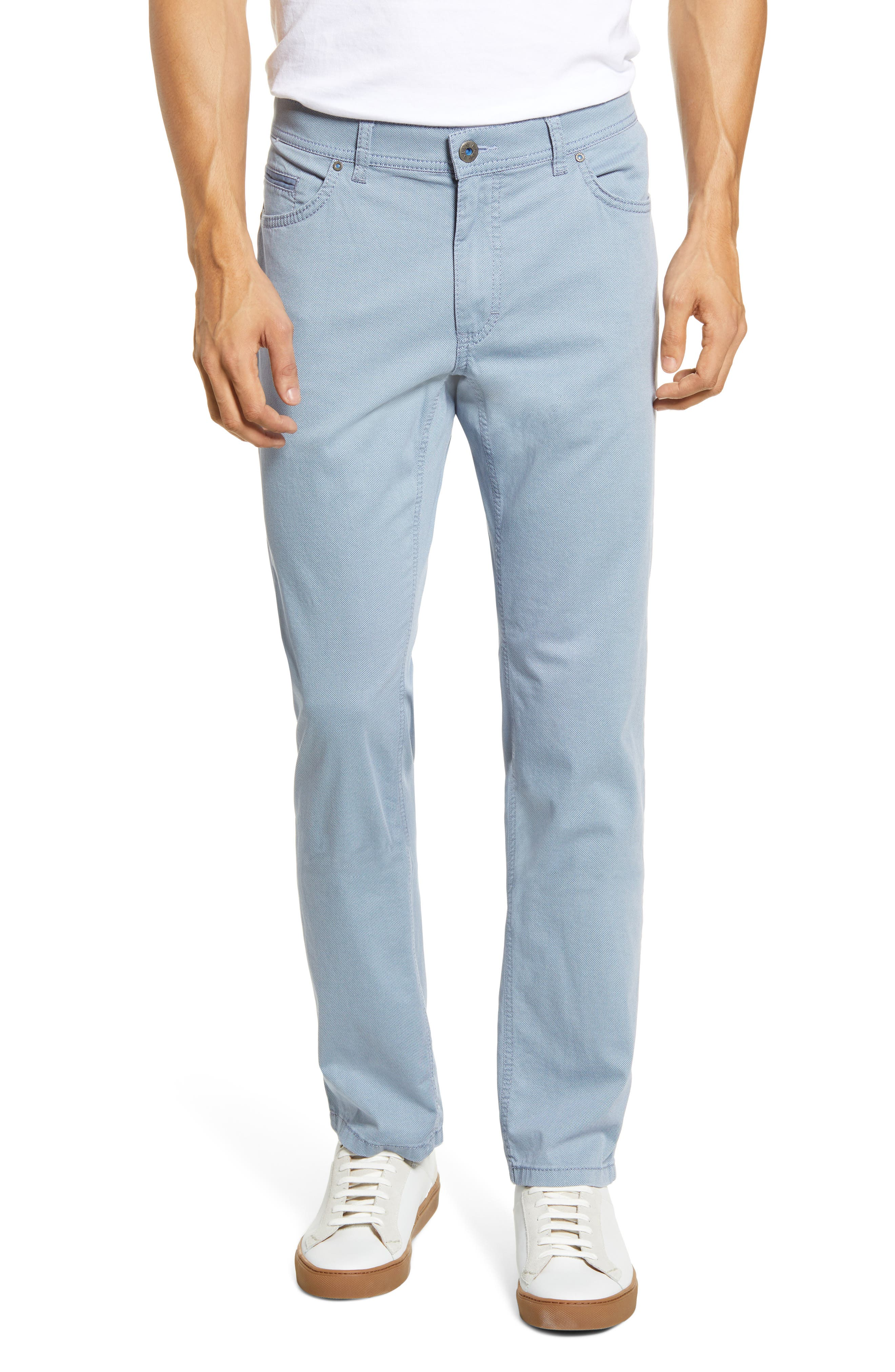A casual five-pocket cut defines versatile pants cut from stretchy cotton treated with a smart finishing process for Tritone coloration. Style Name: Brax Cooper Five Pocket Stretch Cotton Pants. Style Number: 6002786. Available in stores.