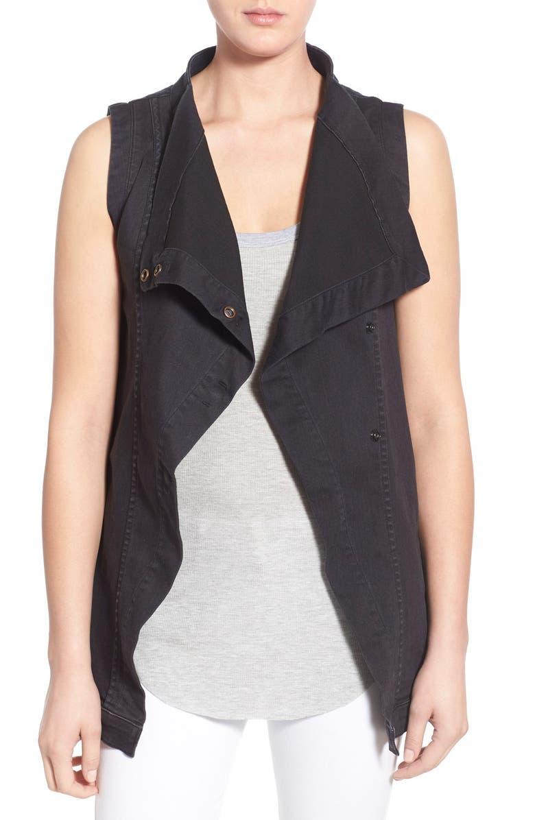 FINE BY SUPERFINE 'Grace' Drape Front Denim Vest, Main, color, 001