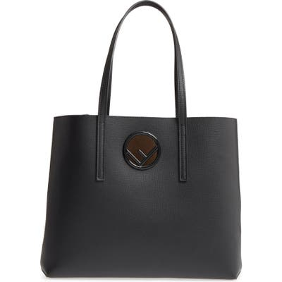 Fendi Logo Leather Shopper - Black