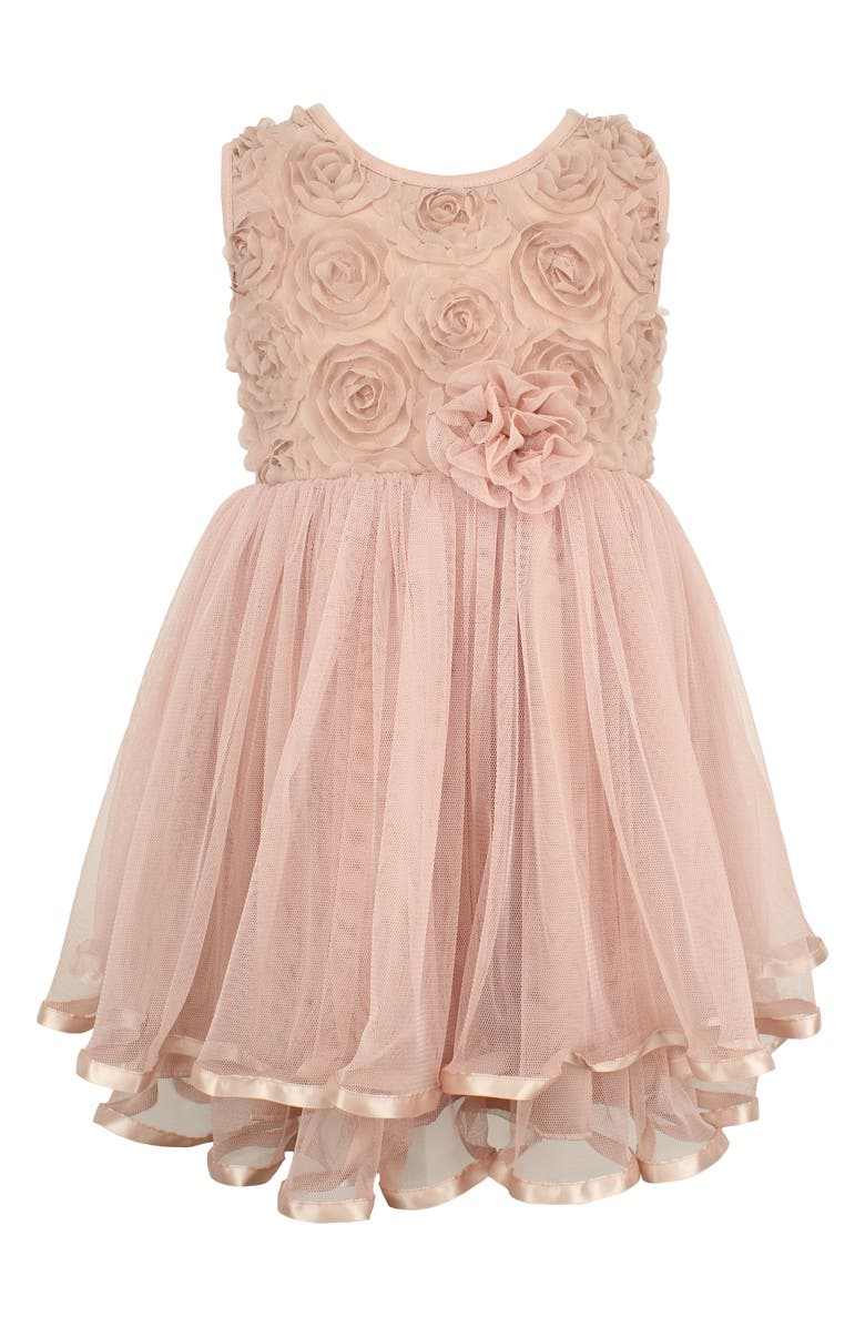 POPATU Rosette Tulle Dress, Main, color, DUSTY PINK