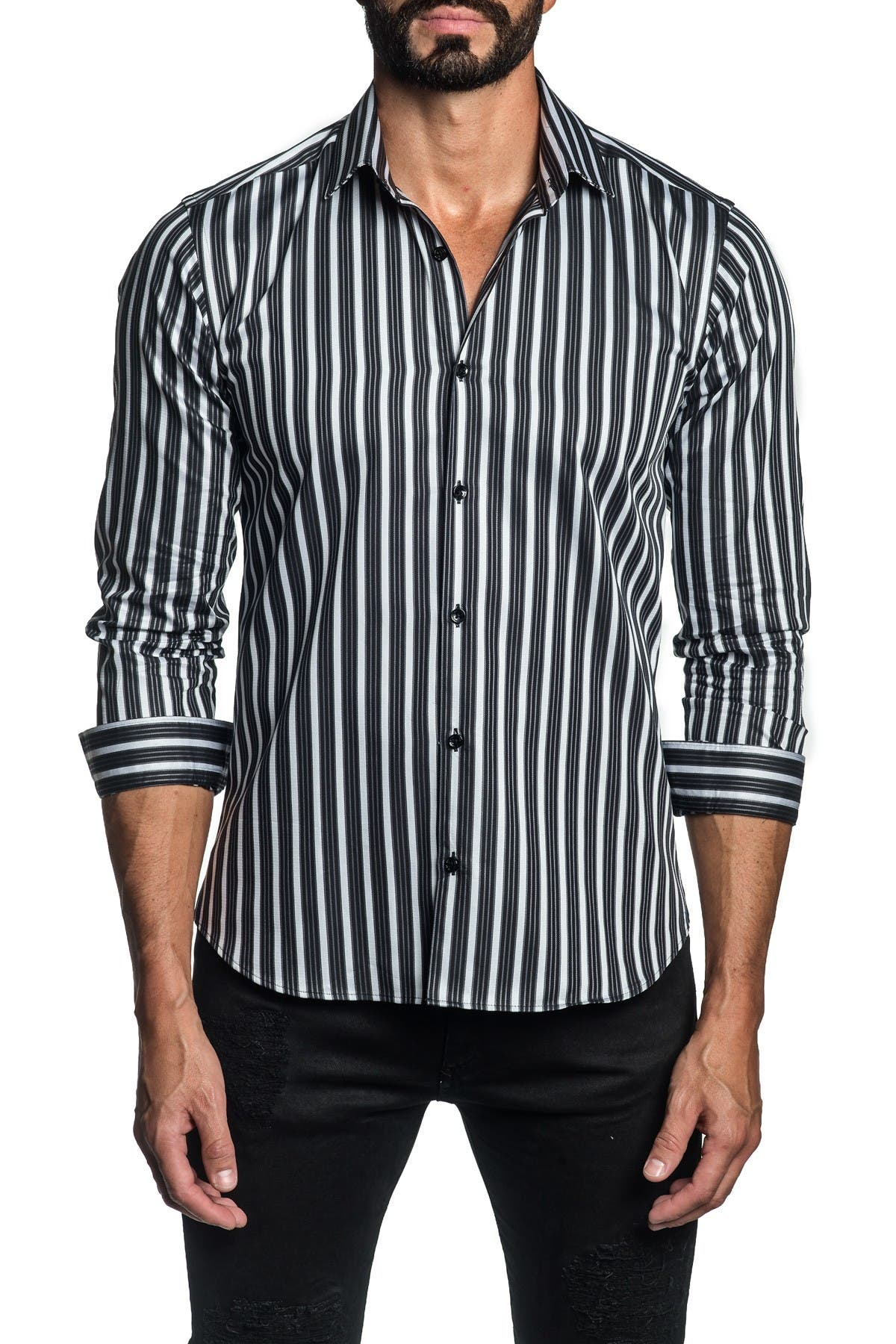 Jared Lang Cottons TRIM FIT WHITE BLACK STRIPE DRESS SHIRT