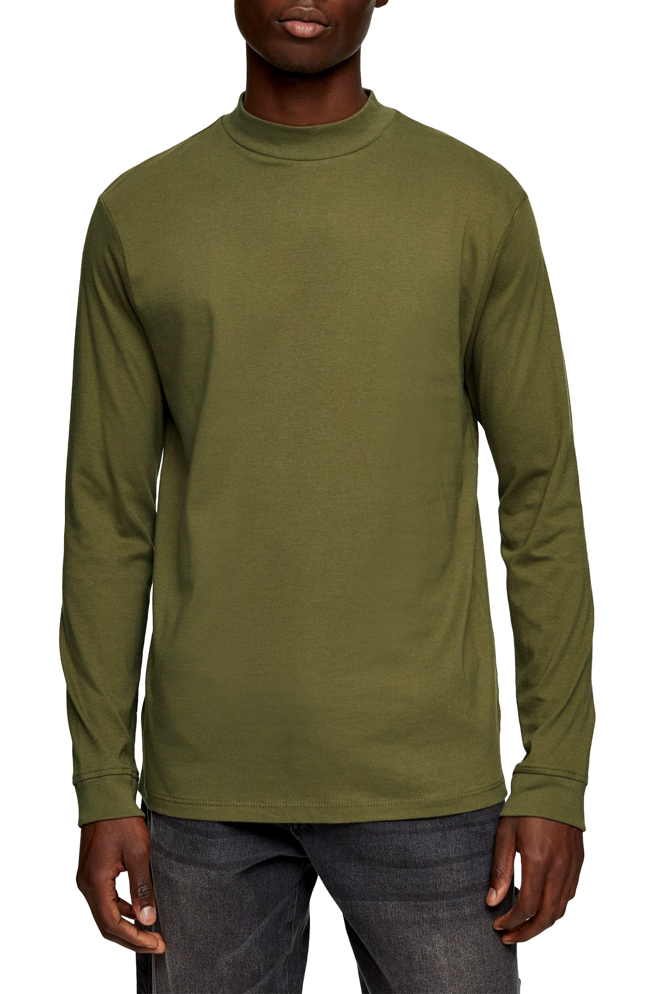 1960s Mens Shirts | 60s Mod Shirts, Hippie Shirts Mens Topman Mock Neck Long Sleeve T-Shirt Size X-Small - Green $30.00 AT vintagedancer.com
