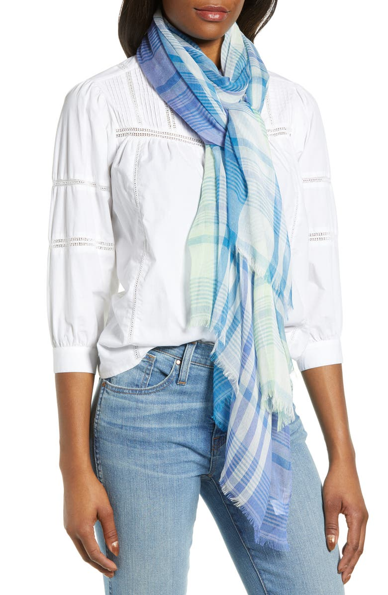 NORDSTROM Yarn Dyed Stripe Wrap, Main, color, PURPLE BLOOMING PLAID