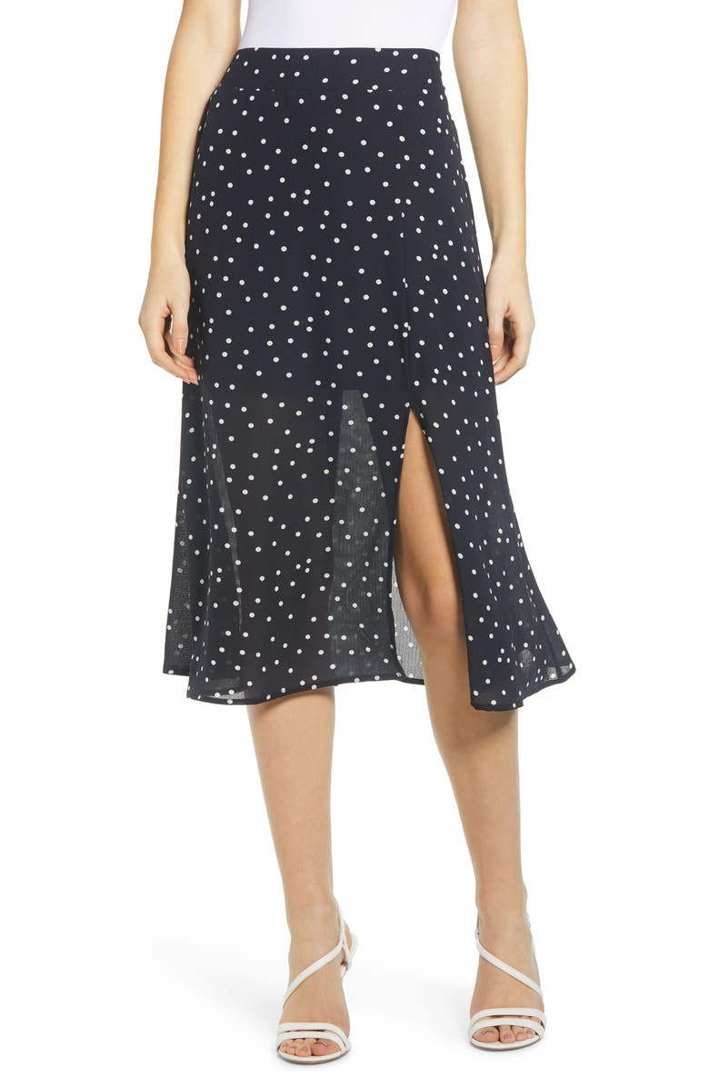 ROW A Slit Front Skirt, Main, color, 400