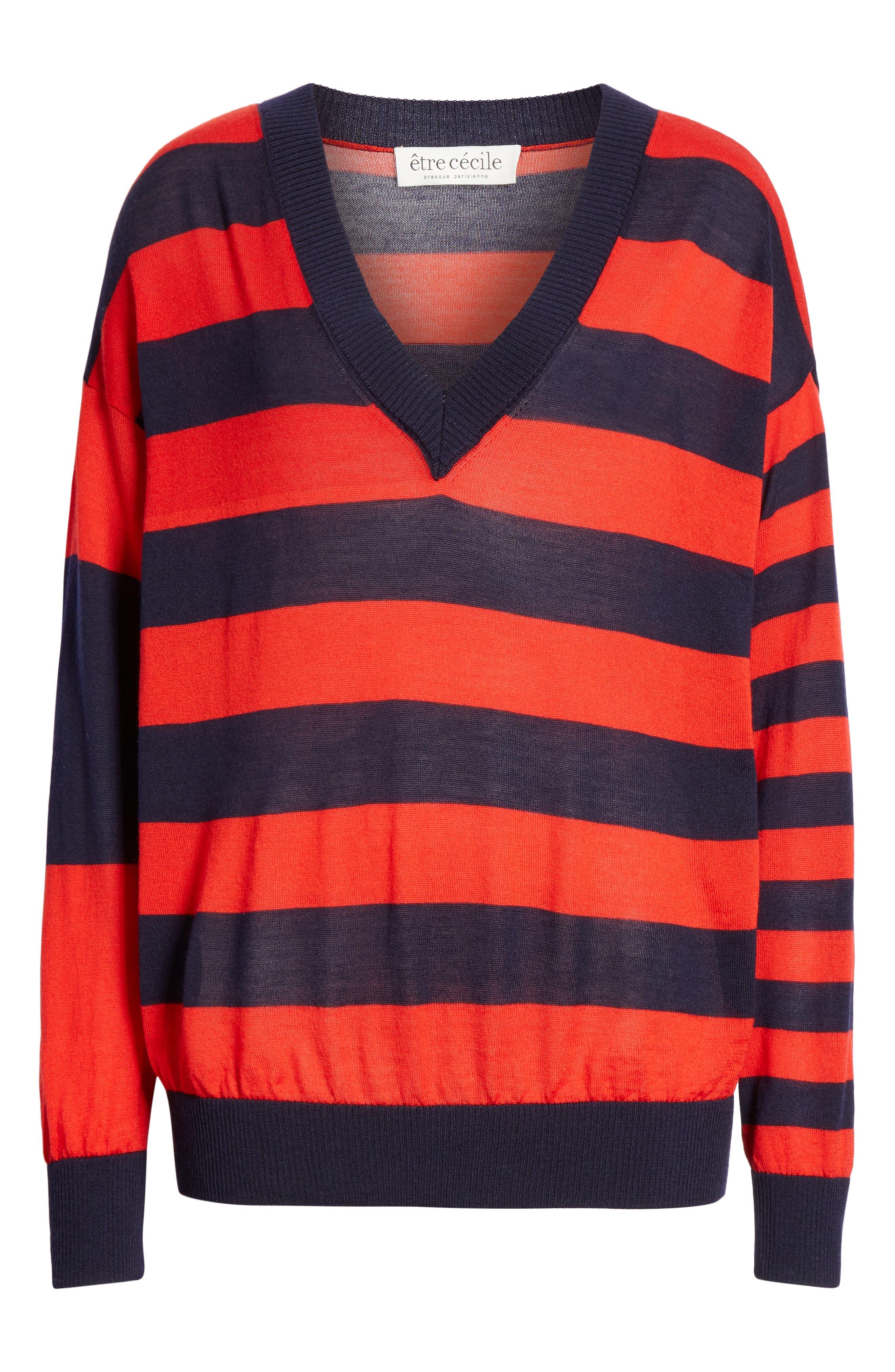 ,                             Stripe V-Neck Sweater,                             Alternate thumbnail 6, color,                             NAVY/ RED