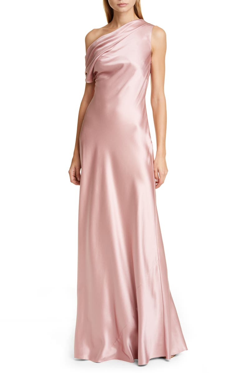CUSHNIE One-Shoulder Draped Silk Charmeuse Gown, Main, color, WOODROSE