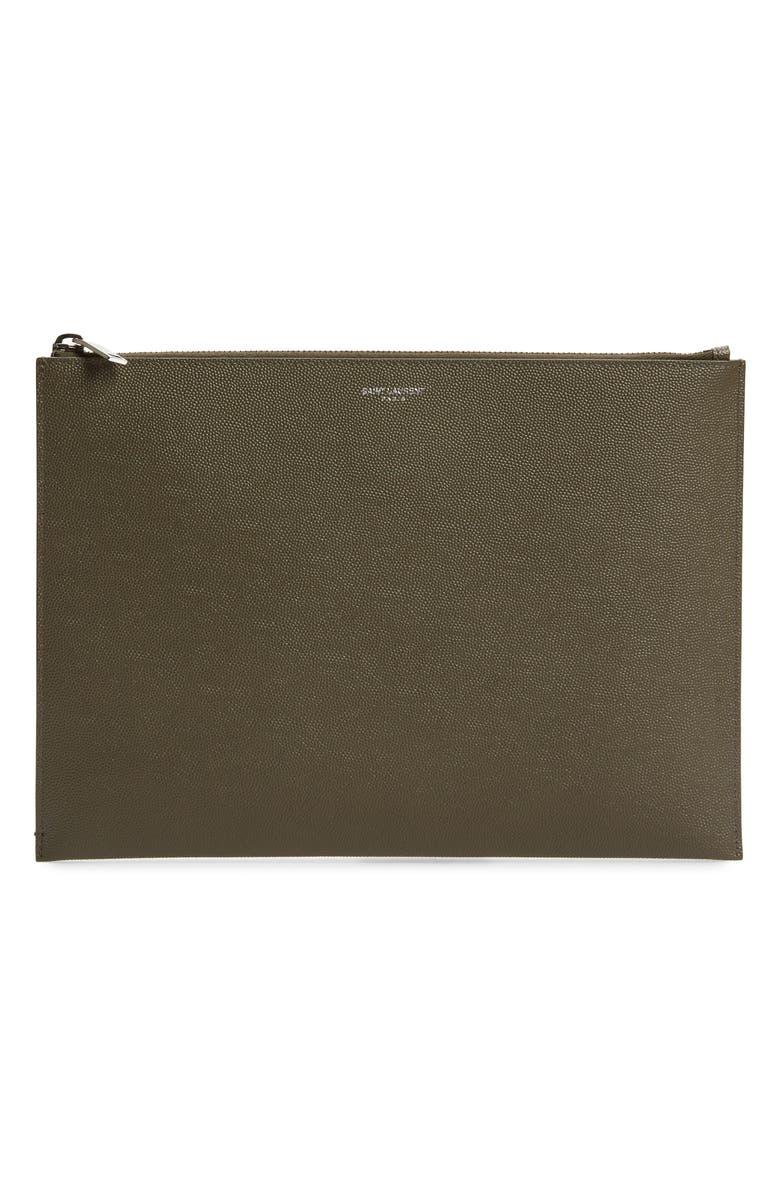 SAINT LAURENT Leather iPad Case, Main, color, BROWN