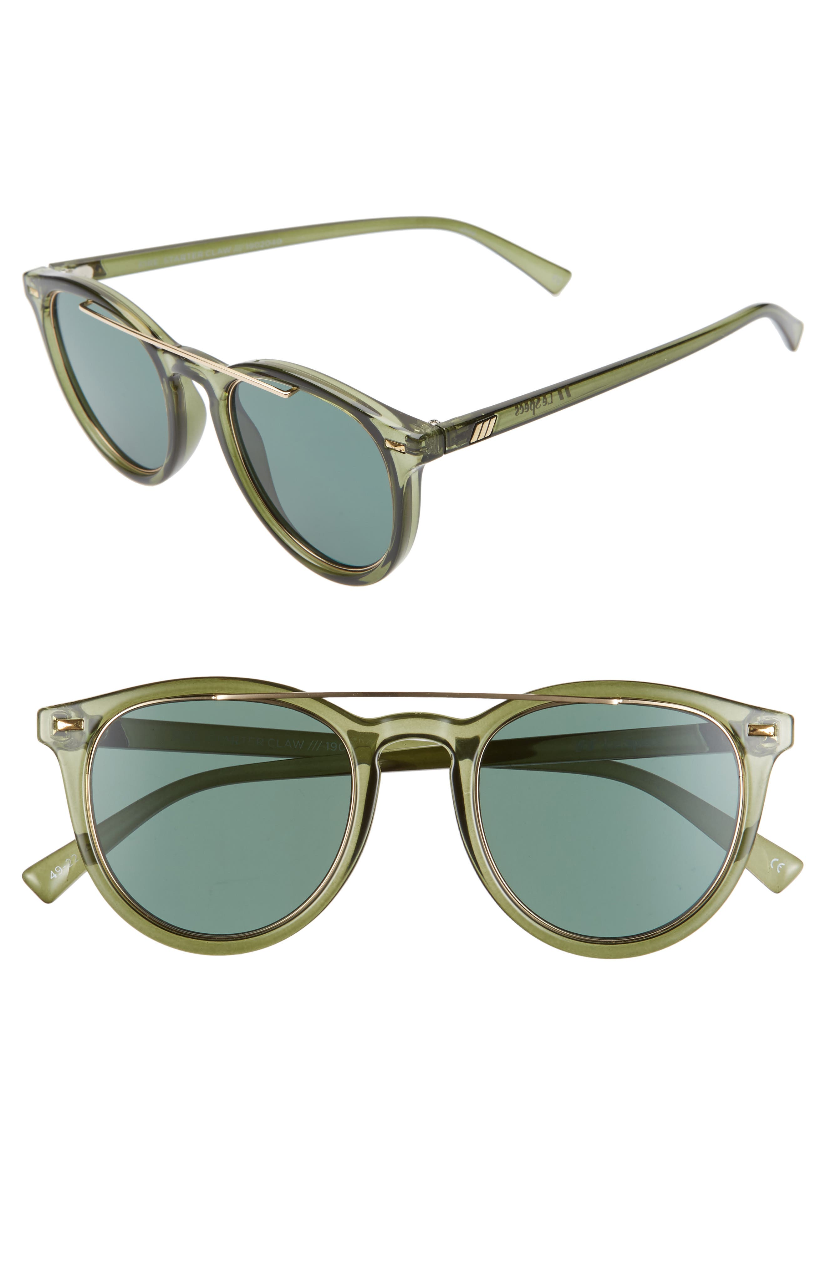 Le Specs Fire Starter 4m Round Sunglasses - Transparent Khaki