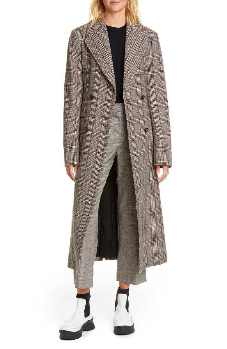 STELLA MCCARTNEY Glen Plaid Double Breasted Wool Coat, Main, color, BLACK