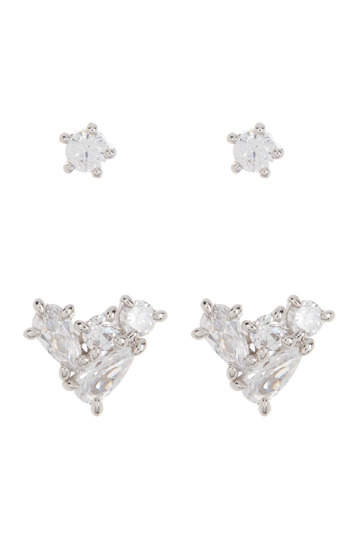 Image of NADRI Rhodium Plated Pave CZ Heart Cluster Stud Earrings - Set of 2