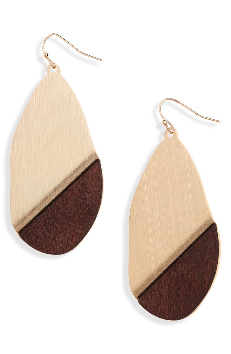 BP. Mixed Media Oval Drop Earrings, Main, color, BROWN- GOLD