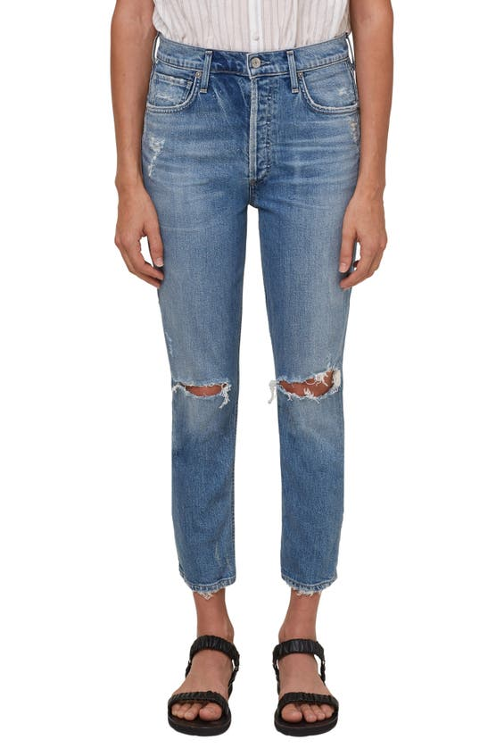 Citizens Of Humanity RIPPED HIGH WAIST CROP STRAIGHT LEG JEANS