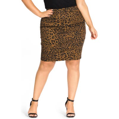 Plus Size City Chic Jungle Frenzy Skirt, Brown