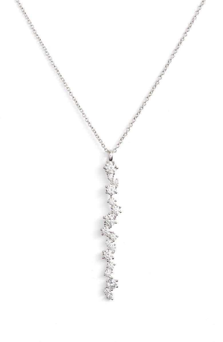 NADRI Cubic Zirconia Linear Long Pendant Necklace, Main, color, 040