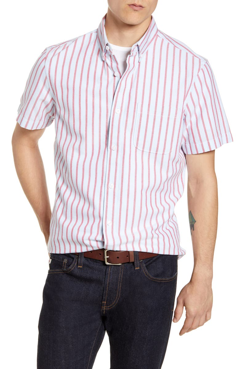 1901 Trim Fit Stripe Short Sleeve Button-Down Shirt, Main, color, BLUE RED CANDY STRIPE
