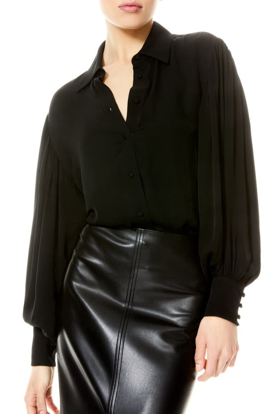 Alice And Olivia MITCHELL OPEN BACK BLOUSE