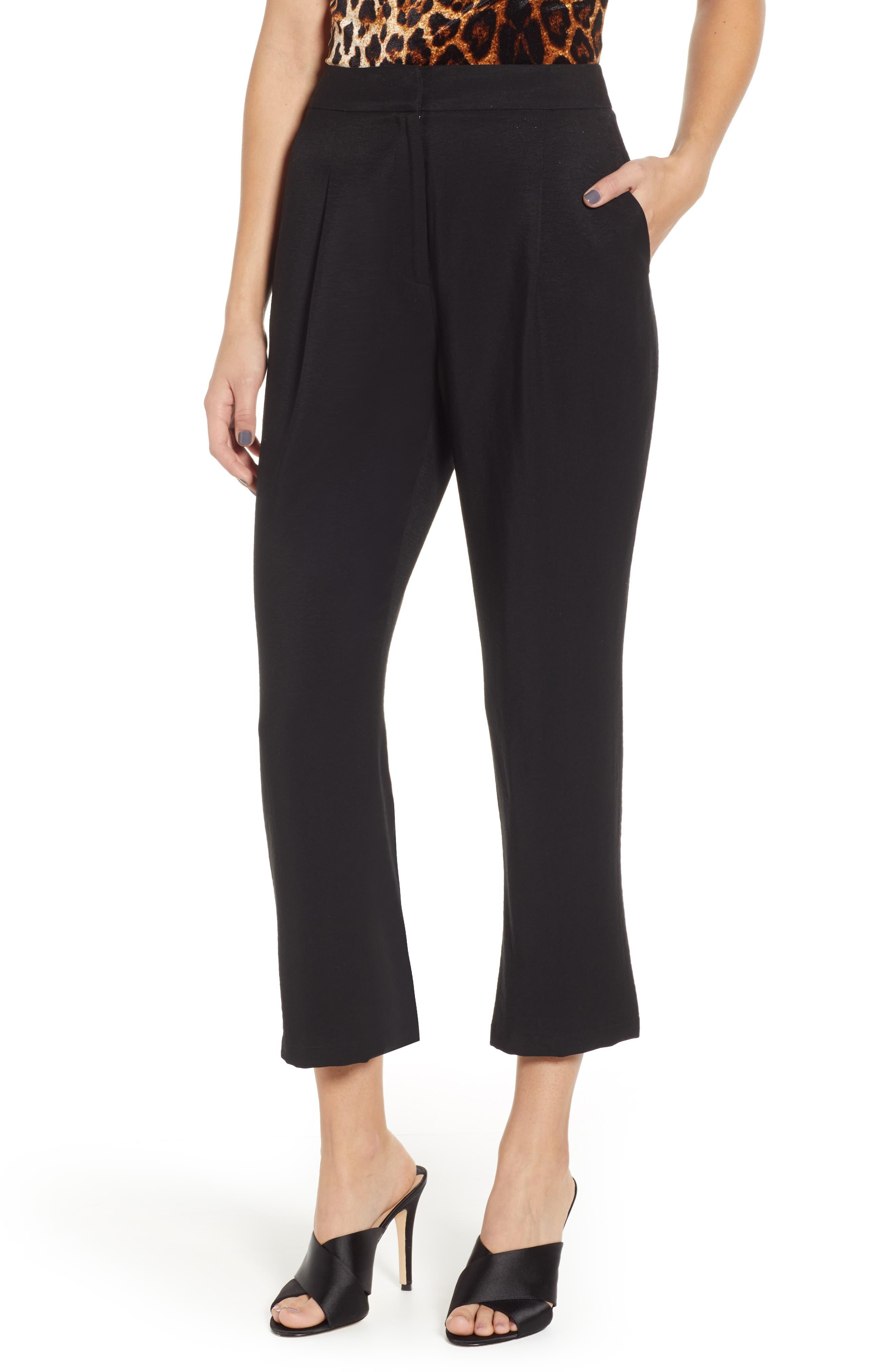 Pleat High Waist Ankle Pants, Main, color, BLACK