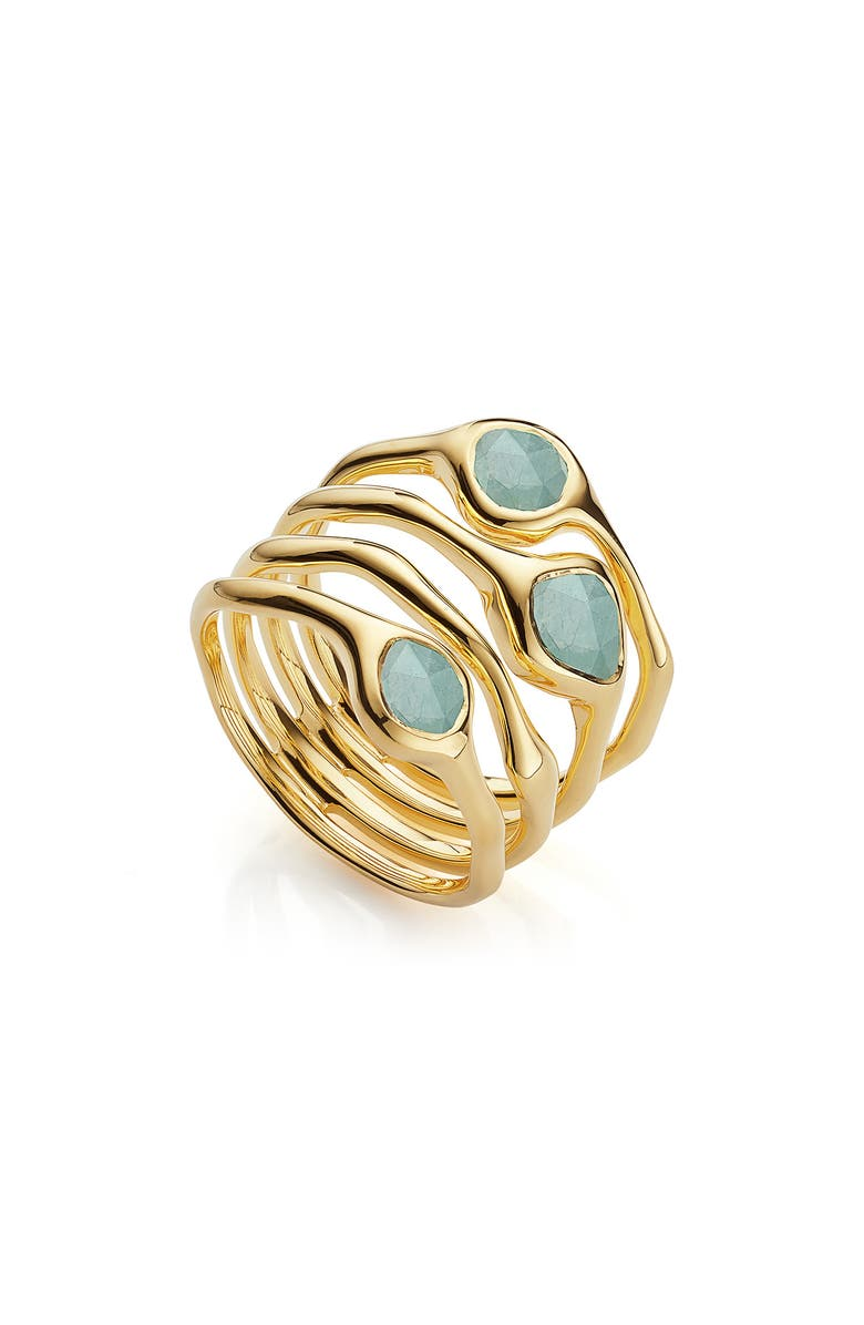MONICA VINADER Siren Cluster Cocktail Ring, Main, color, YELLOW GOLD/ AQUAMARINE