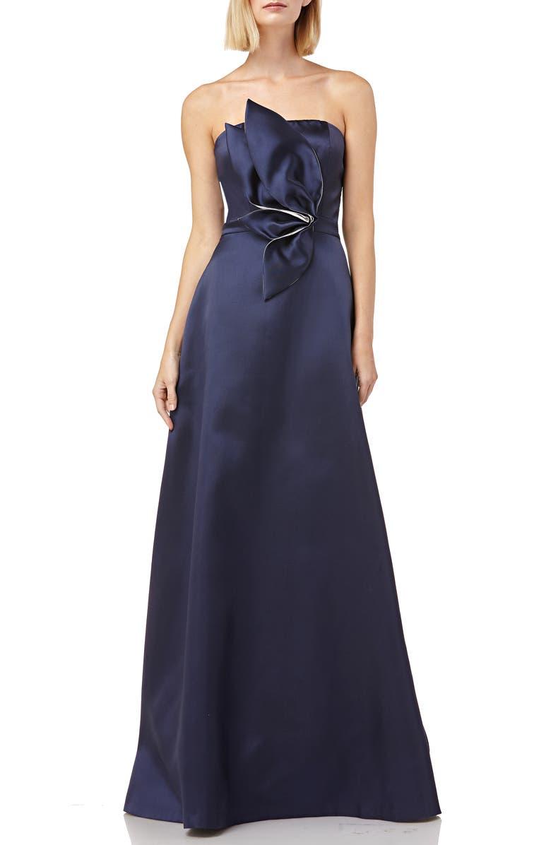 KAY UNGER 3D Appliqué Strapless Mikado Gown, Main, color, NAVY