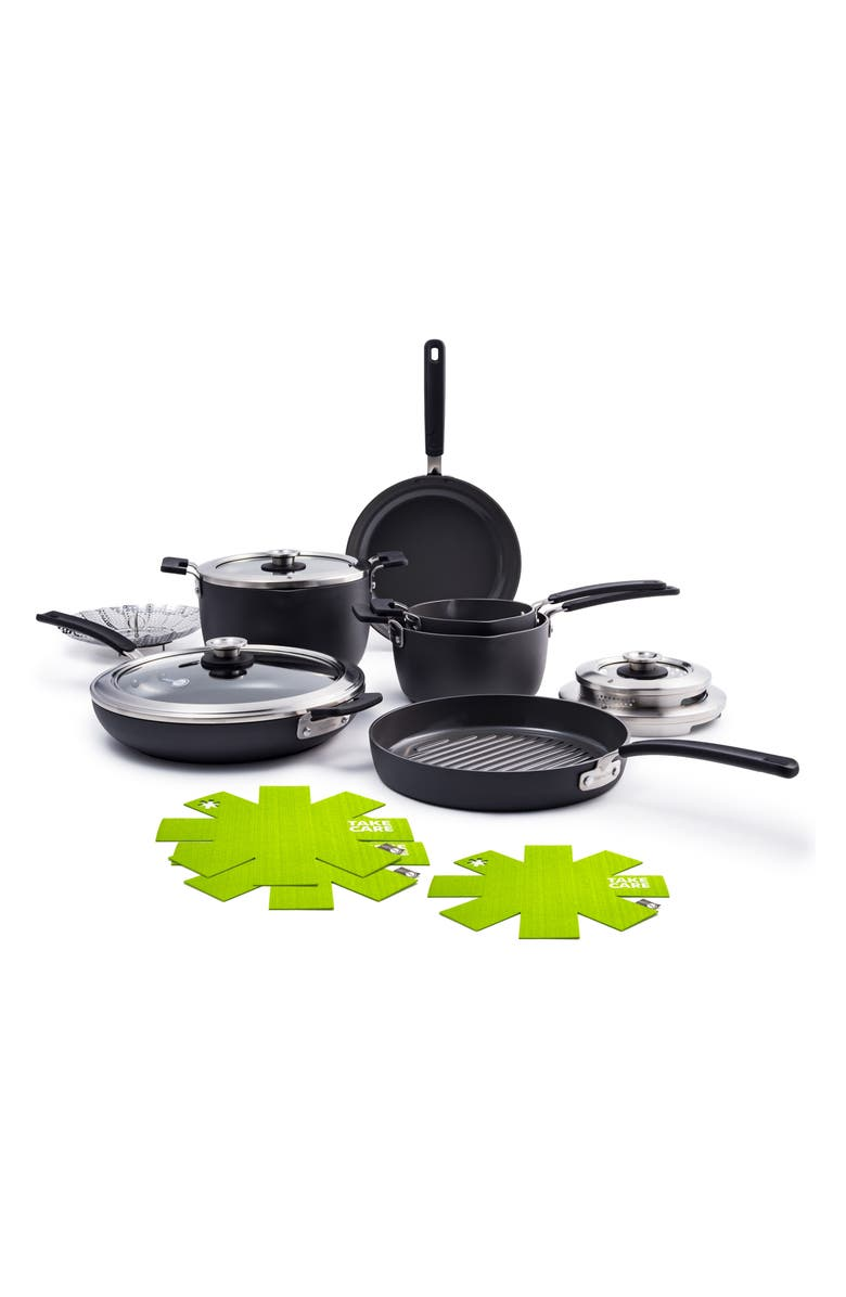GREENPAN Levels 11-Piece Anodized Aluminum Ceramic Nonstick Cookware Set, Main, color, GREY