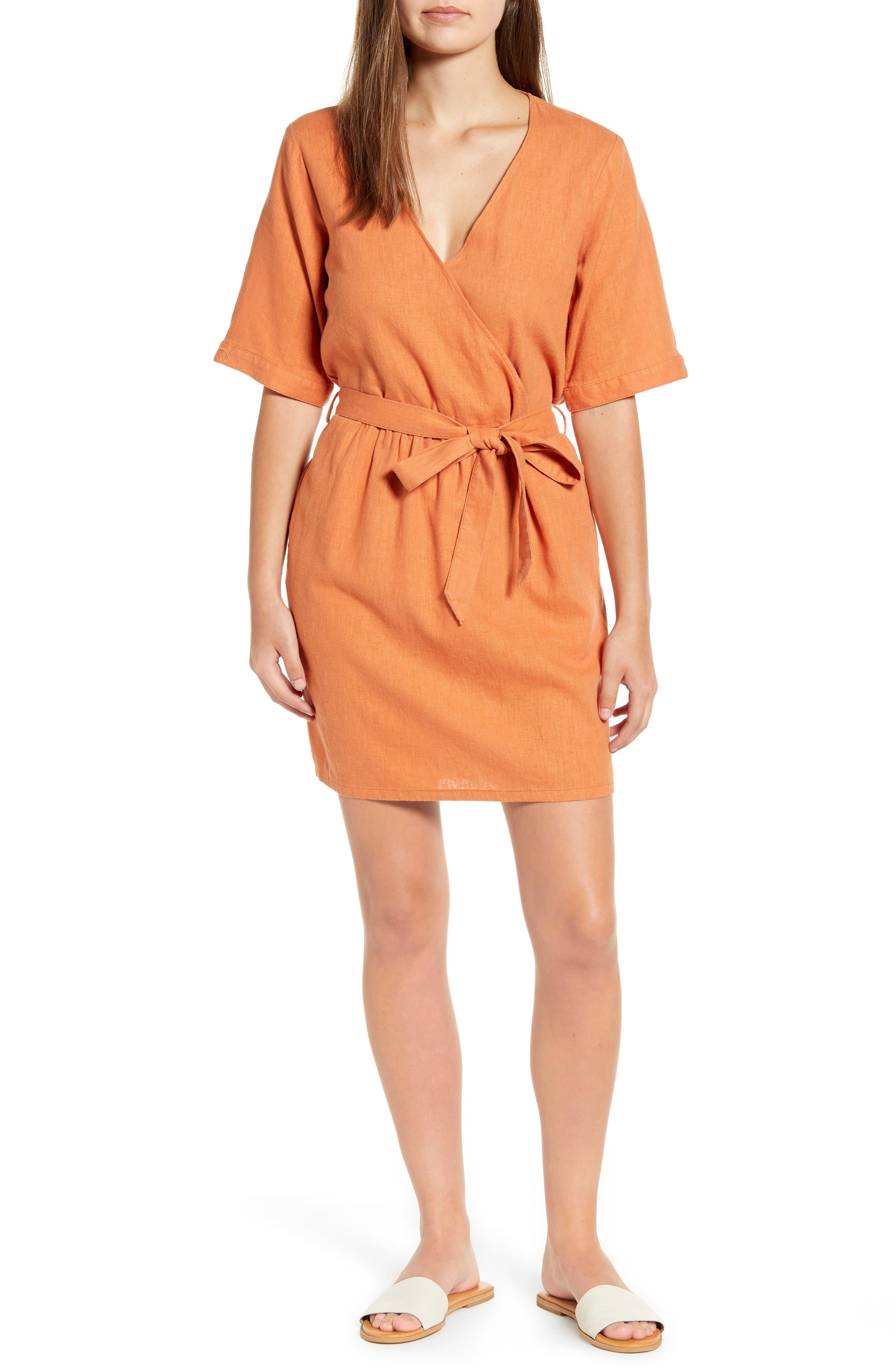 Caslon Linen Blend Faux Wrap Dress, Brown