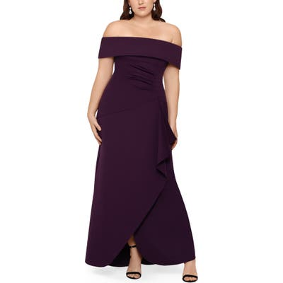 Plus Size Xscape Off The Shoulder Ruffle Gown, Purple
