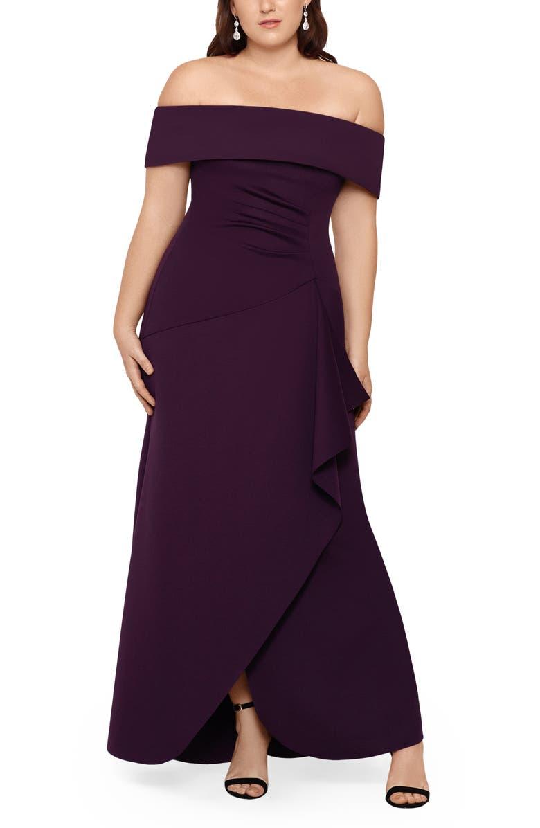 XSCAPE Off the Shoulder Ruffle Gown, Main, color, PLUM