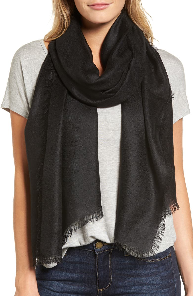 NORDSTROM Cashmere & Silk Wrap, Main, color, BLACK