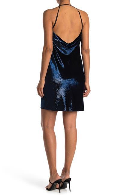 Image of HALSTON Metallic Cowl Neck Dress