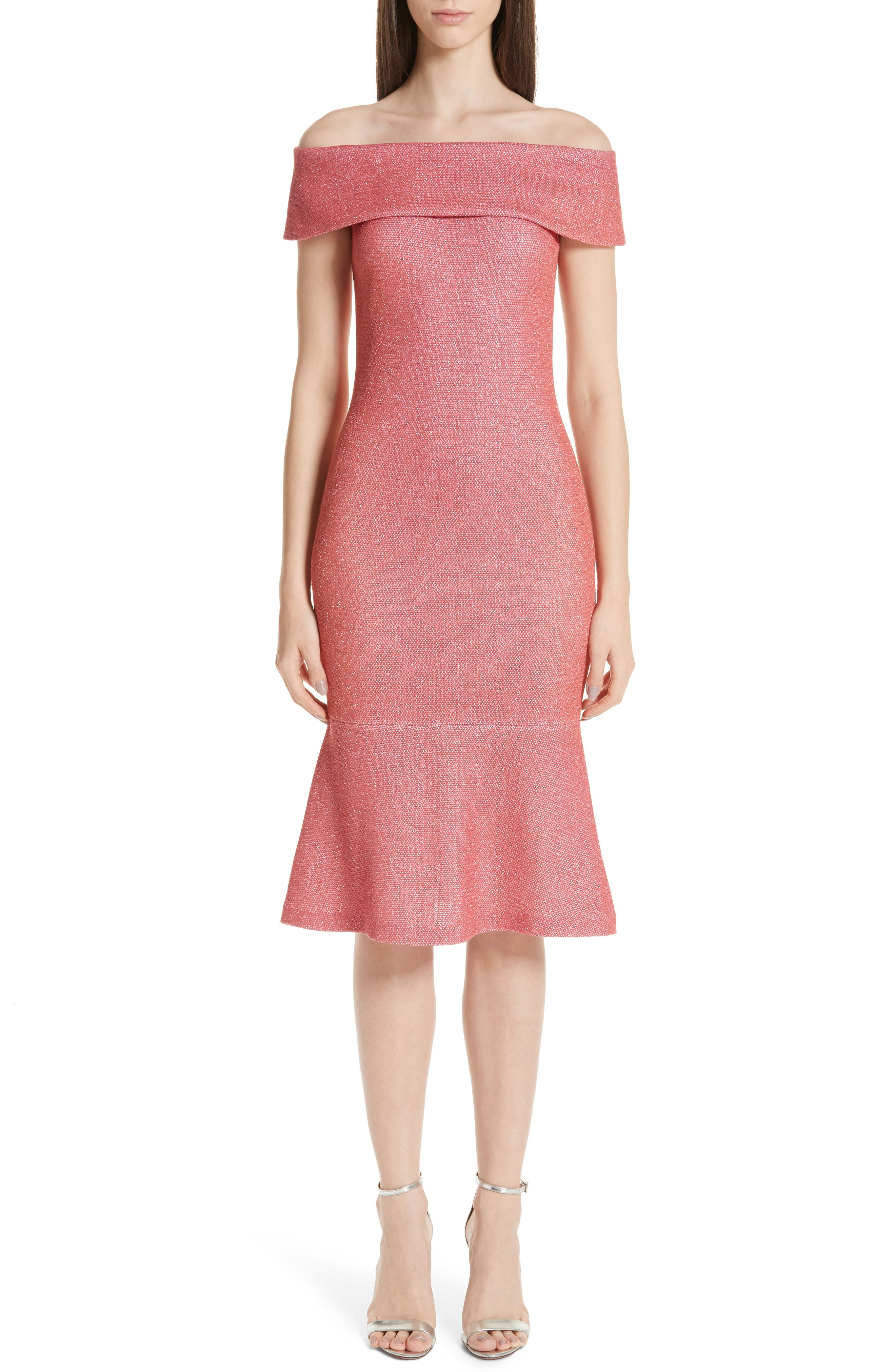 St. John Collection Links Sequin Off The Shoulder Dress, Coral