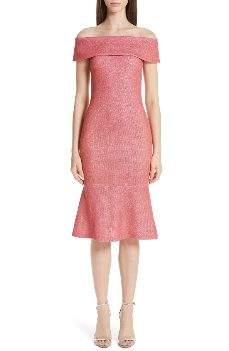 ST. JOHN COLLECTION Links Sequin Off the Shoulder Dress, Main, color, 950