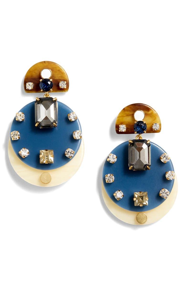 J.CREW Acrylic & Crystal Drop Earrings, Main, color, 430