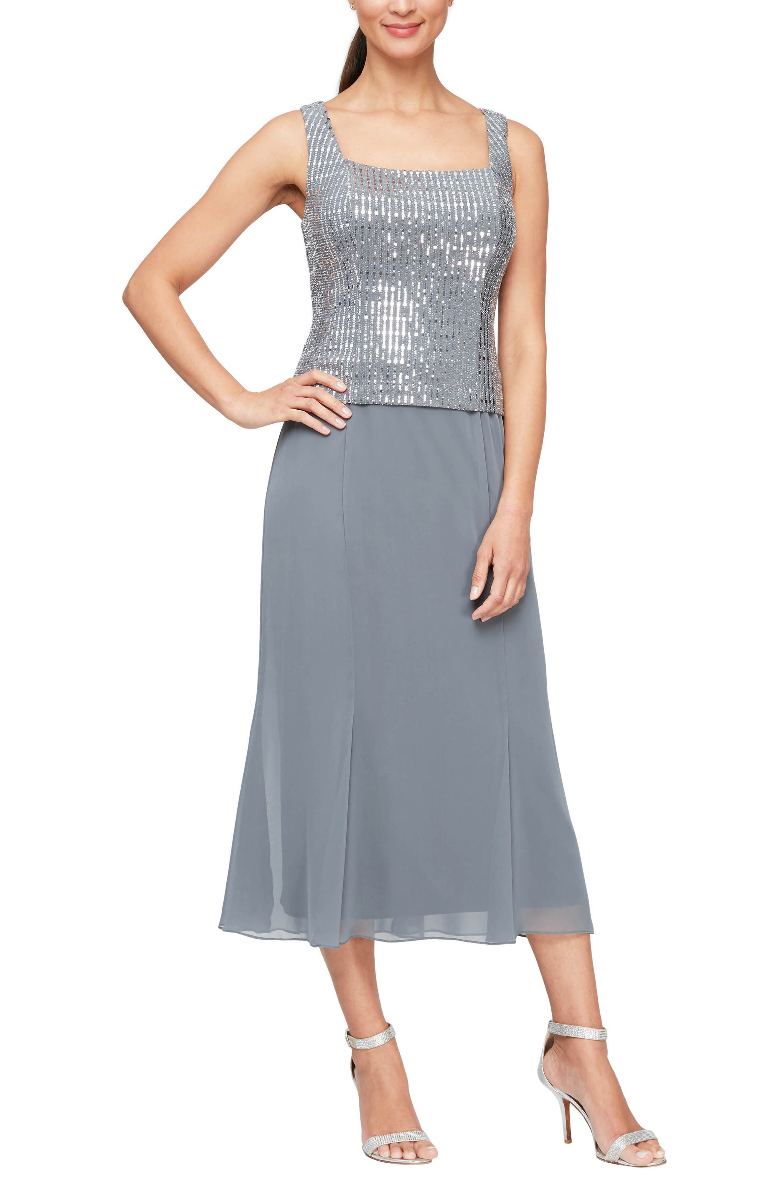 Two-Piece Sequin & Chiffon Dress With Jacket