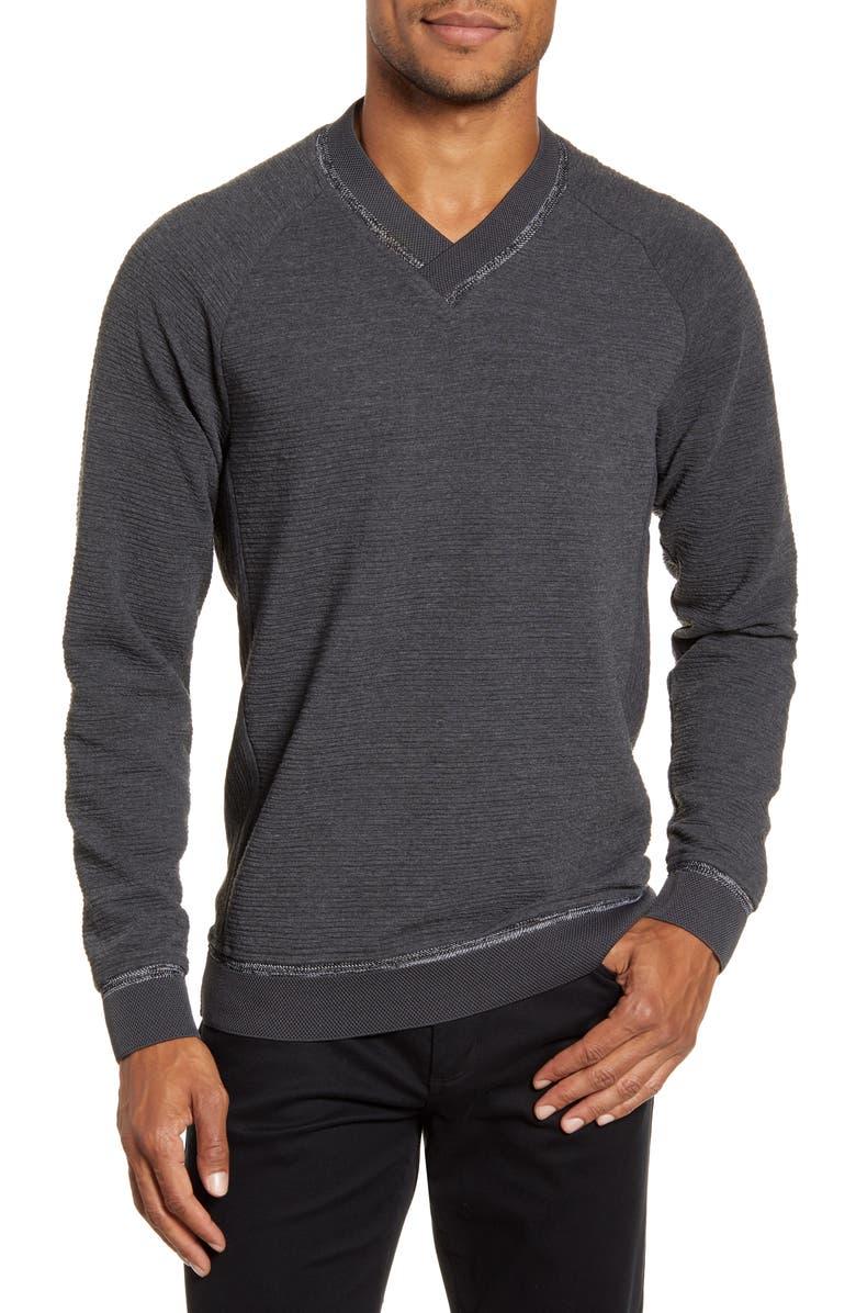 VINCE CAMUTO Slim Fit Crossover V-Neck Sweater, Main, color, GREY/ BLACK