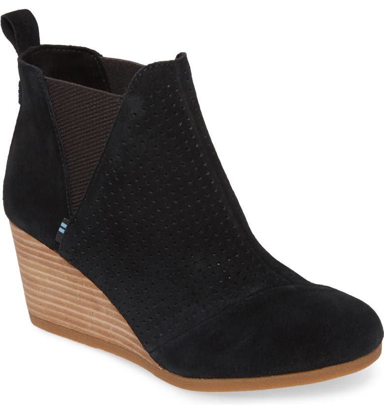 TOMS Kelsey Bootie, Main, color, BLACK PERFORATED SUEDE