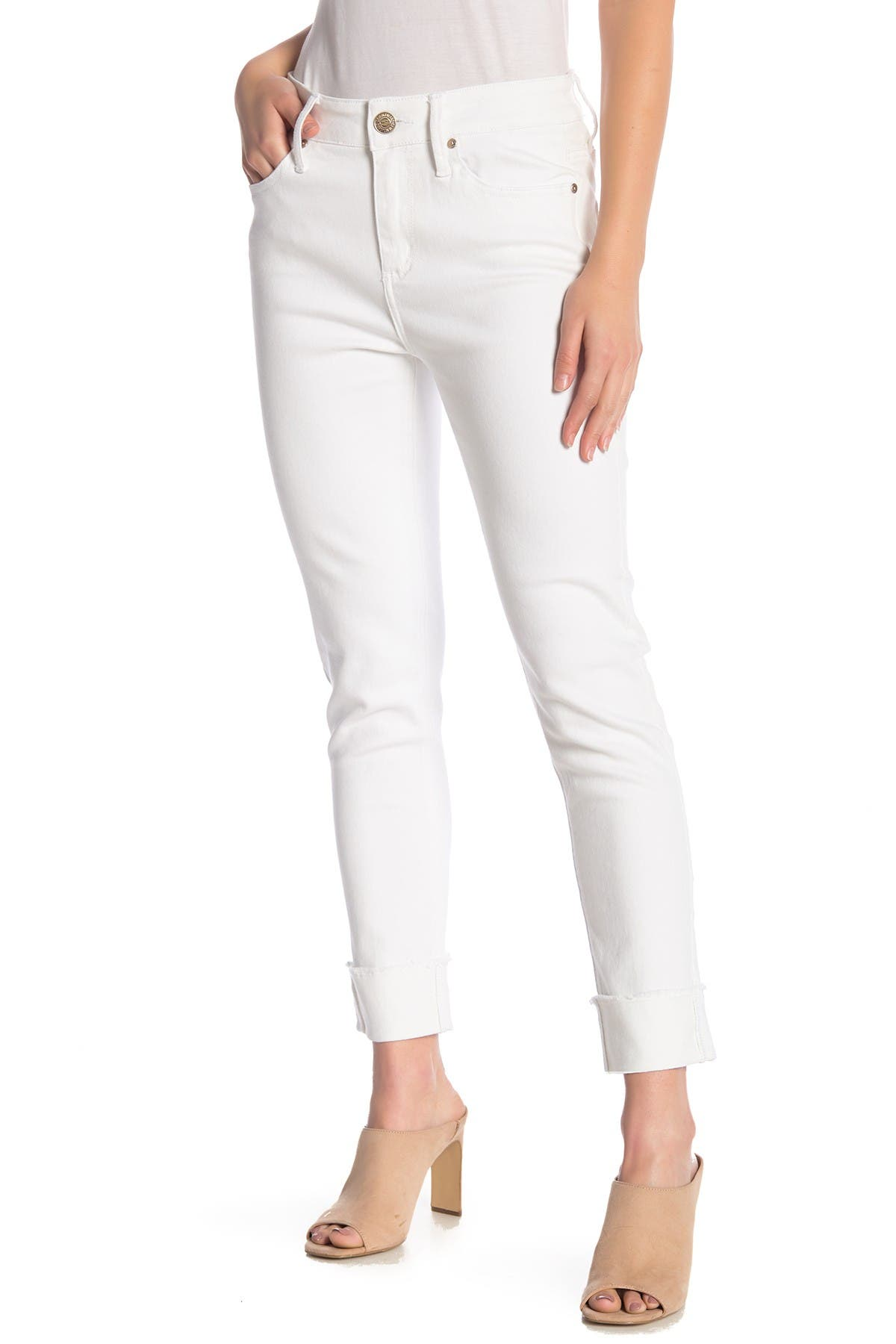 Image of Seven7 High-Rise Cuffed Slim Straight Jeans