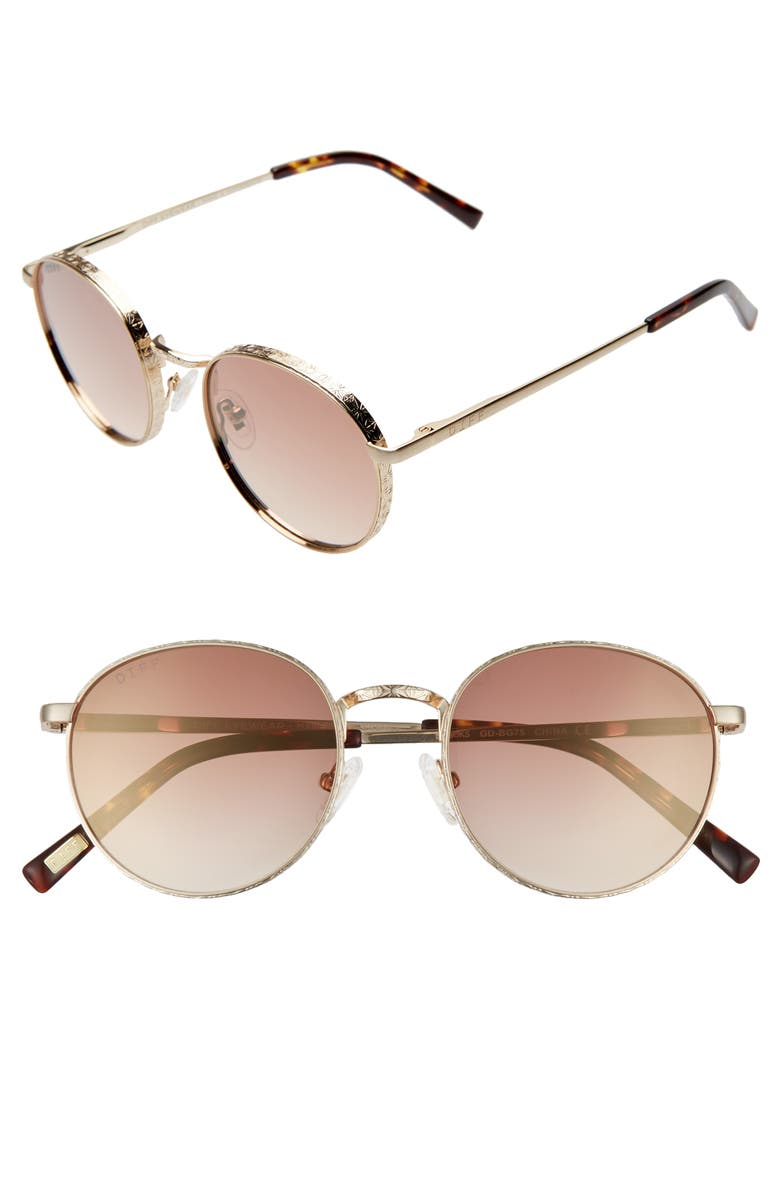 DIFF Brooks 50mm Round Sunglasses, Main, color, GOLD/ BROWN GRADIENT FLASH