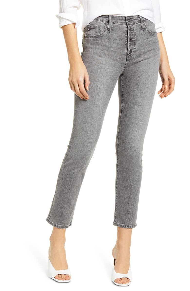 AG The Isabelle High Waist Button Front Ankle Straight Leg Jeans, Main, color, ENTITY