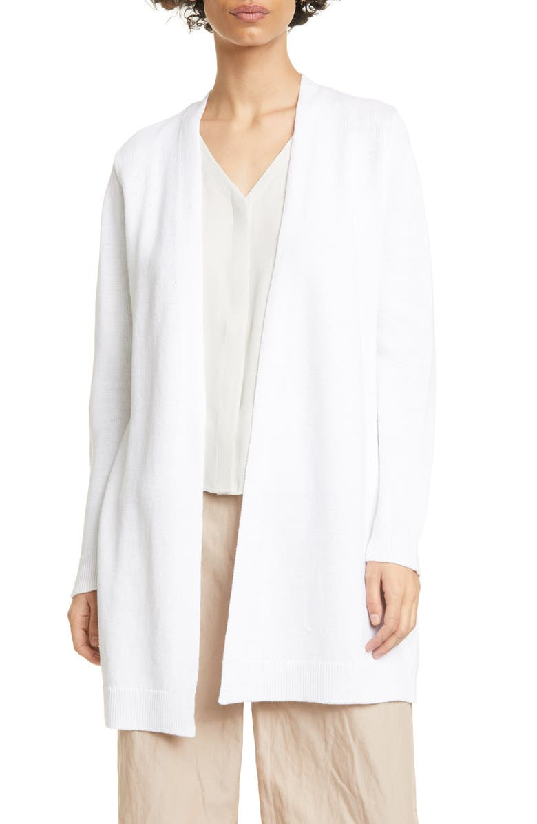 EILEEN FISHER Long Cardigan, Main, color, WHITE