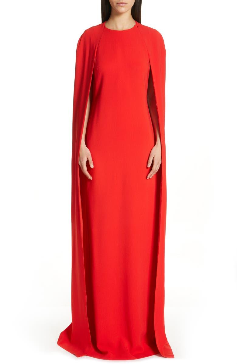 STELLA MCCARTNEY Violet Cape Sheath Gown, Main, color, SCARLET