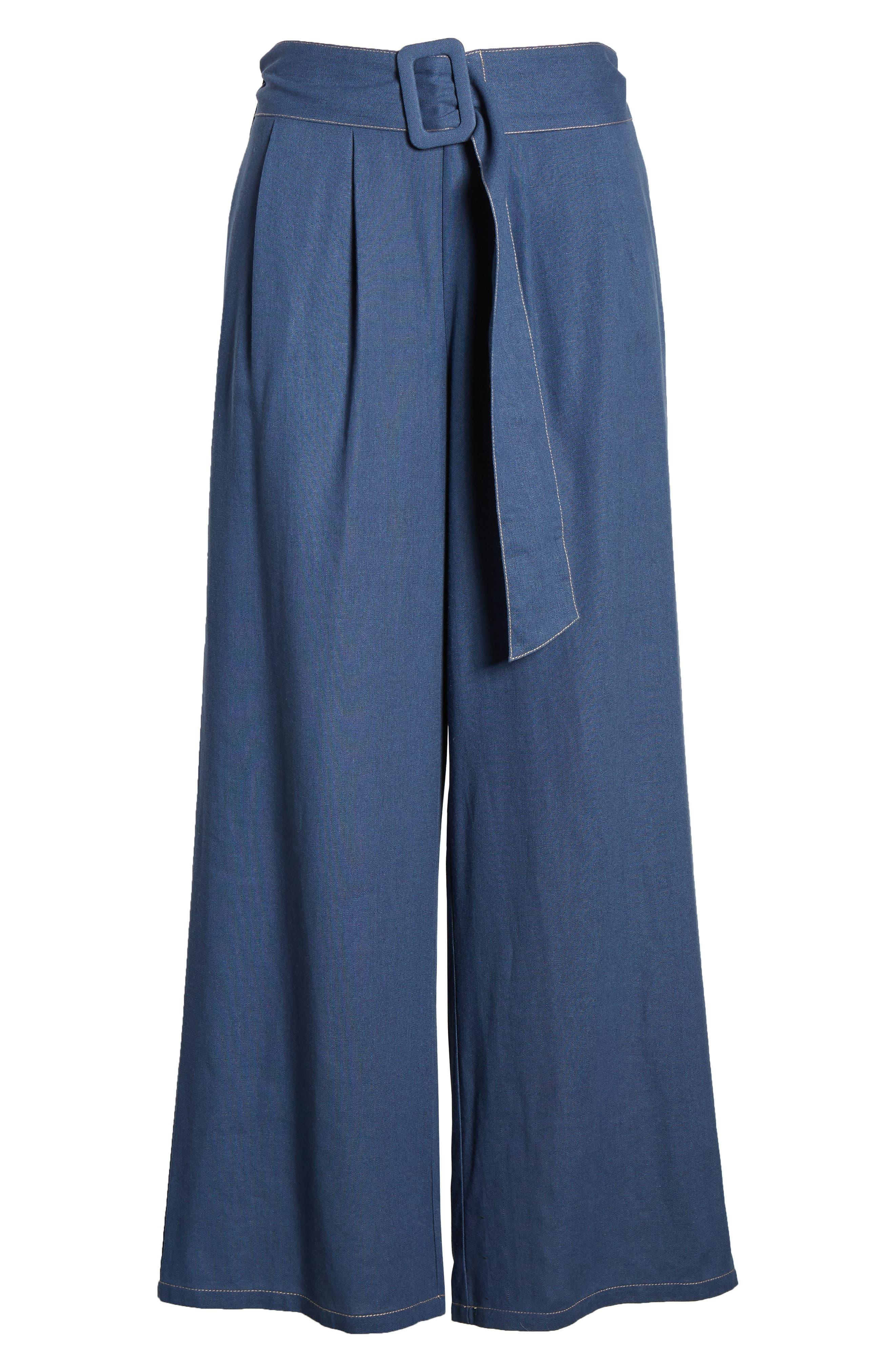,                             Belted Wide Leg Pants,                             Alternate thumbnail 7, color,                             400