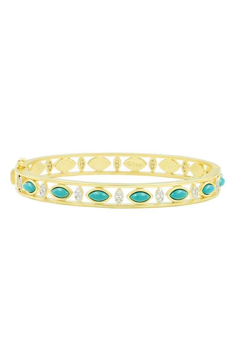 FREIDA ROTHMAN Fleur Bloom Empire Turquoise Hinge Bracelet, Main, color, GOLD/ WHITE/ TURQUOISE