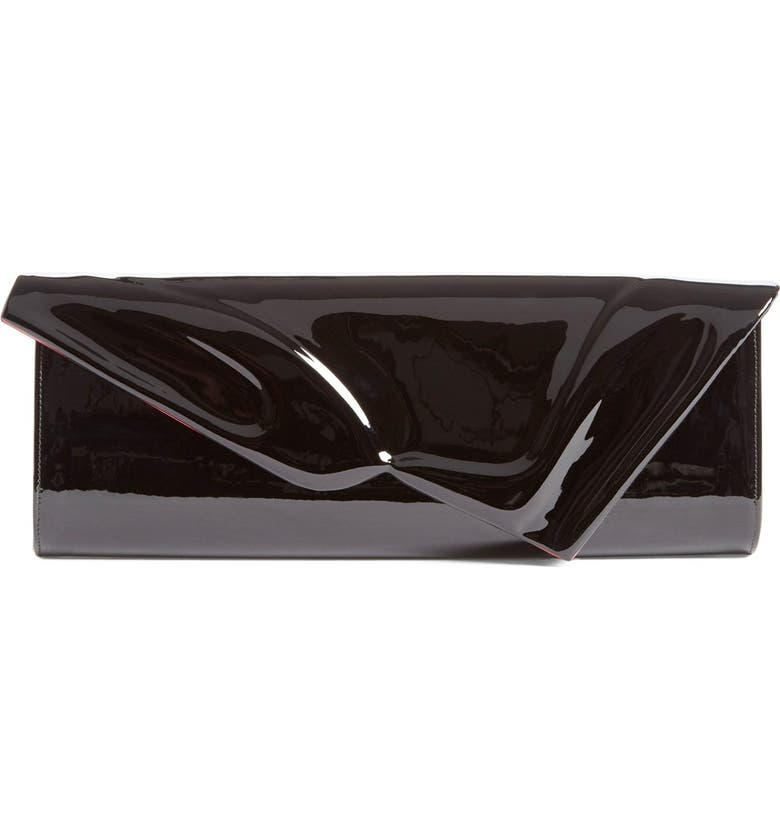 CHRISTIAN LOUBOUTIN So Kate Patent Leather Clutch, Main, color, BLACK