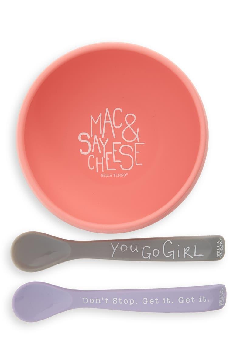 BELLA TUNNO Mac & Say Cheese Wonder Bowl & Spoons Set, Main, color, PINK/ MULTI