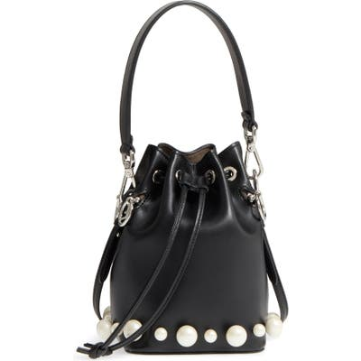 Fendi Imitation Pearl Calfskin Bucket Bag - Black