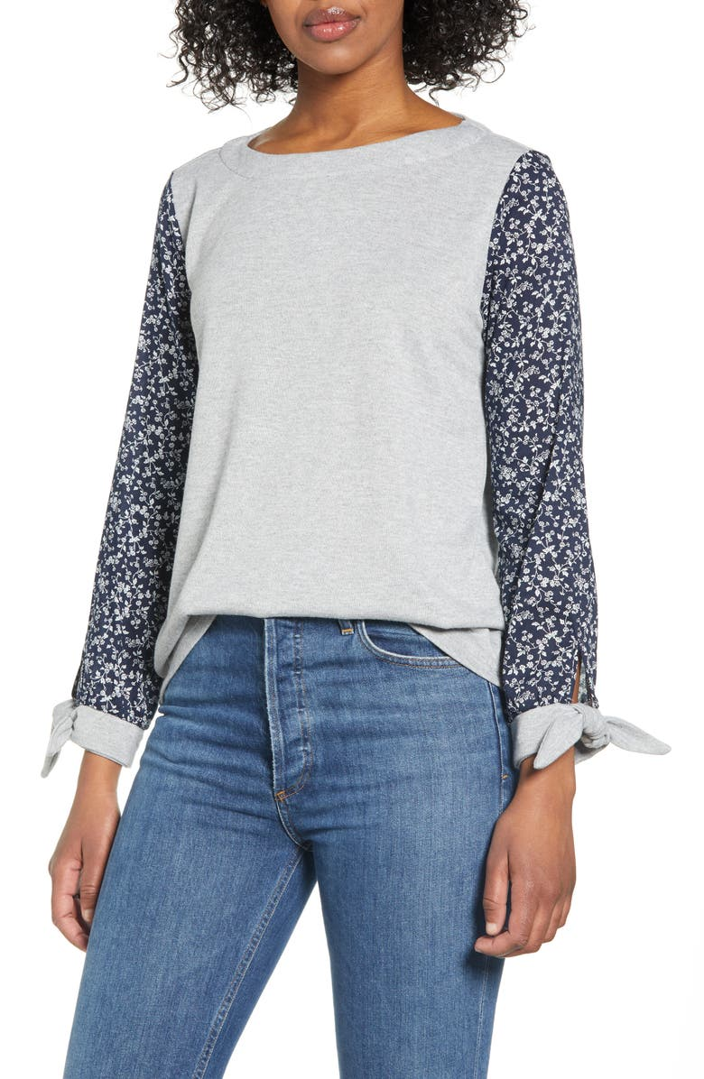 VINCE CAMUTO Tie Sleeve Mix Media Top, Main, color, SILVER HEATHER